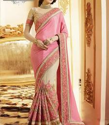 Buy Pink embroidered net saree with blouse chiffon-saree online