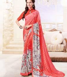 Buy Coral printed crepe saree with blouse crepe-saree online