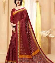 Buy Maroon printed brasso saree with blouse brasso-saree online