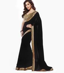 Buy Black embroidered chiffon saree with blouse chiffon-saree online