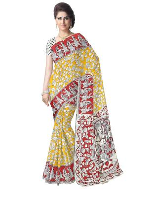 GiftPiper Kalamkari Silk Saree  -Yellow & Red