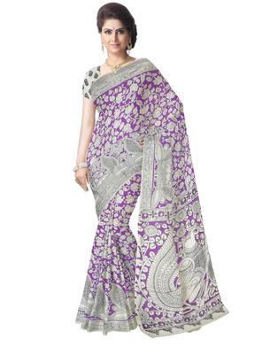 GiftPiper Kalamkari Saree in Cotton-Purple & White