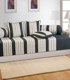 Buy Swayam Black and Cream Colour Stripes Diwan Set with Bolster and Cushion Covers (Set of 6) home-furnishing online
