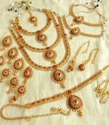 Buy Maroon gold_plated Agate bridal sets bridal-set online