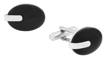 Oval Three Dimensional Black Accent Rhodium Plated Brass Cufflink Pair fro Men