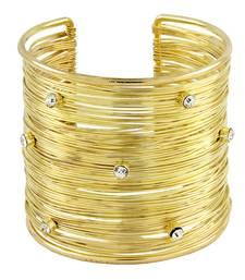 Buy Party Statement Mesh Imported 18K Gold CZ Free Size Cuff Kada Bangle Bracelet Girls Women party-jewellery online