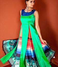 Buy Dark parrot green embroidred silk embroidered-kurtis embroidered-kurtis online