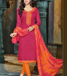 Buy Pink embroidered jacquard salwar with dupatta dress-material online