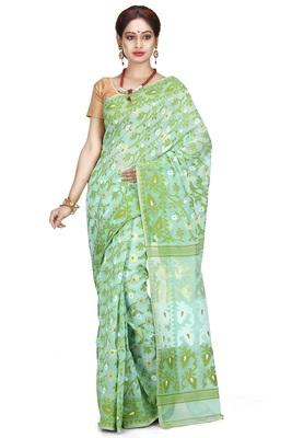 Light sea green hand woven silk cotton saree