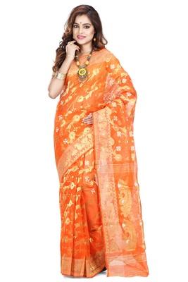 Orange hand woven silk cotton saree