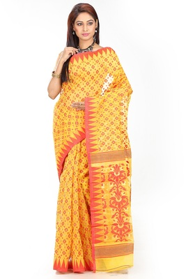 Yellow hand woven silk cotton saree