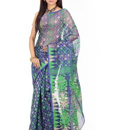 Buy Blue hand woven silk cotton saree  jamdani-saree online