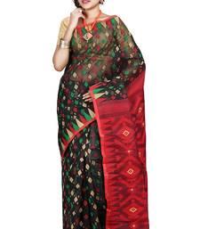 Buy Black hand woven silk cotton saree  jamdani-saree online