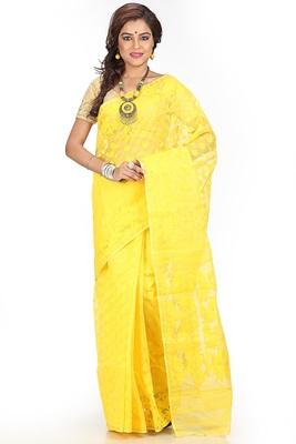 Yellow hand woven silk cotton saree