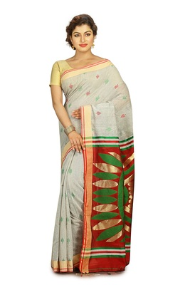Grey hand woven silk cotton saree with blouse