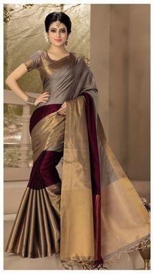 Maroon plain silk saree with blouse