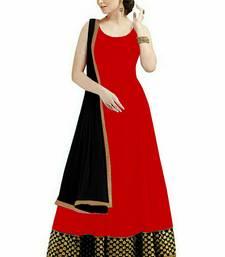 Buy Red embroidered georgette salwar with dupatta mehendi-ceremony-dress online