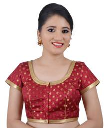 Buy Areum Maroon Brocade Jari Butti Polka Dot Padded Readymade Saree Blouse Choli readymade-blouse online