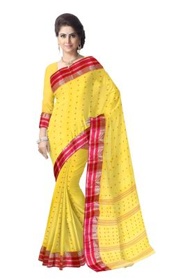 GiftPiper Bengali Tant Saree with Booti Motifs - Yellow & Red