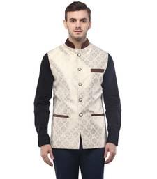 Buy Beige Jacquard Nehru jacket nehru-jacket online