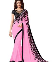 Buy Pink printed dupion saree with blouse printed-saree online