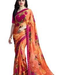 Buy Orange printed georgette saree with blouse bollywood-saree online