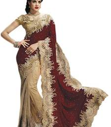 Buy Maroon embroidered net saree with blouse half-saree online