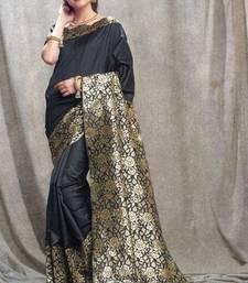 Buy black woven kanchipuram silk saree with blouse pongal-dhoti-saree online