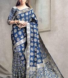 Buy navy blue woven kanchipuram silk saree with blouse kanchipuram-silk-saree online