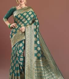 Buy dark green woven kanchipuram silk saree with blouse kanchipuram-silk-saree online