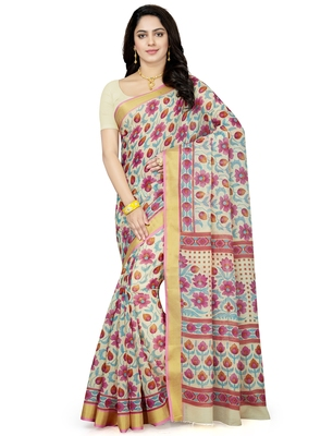 Beige printed blended cotton saree with blouse