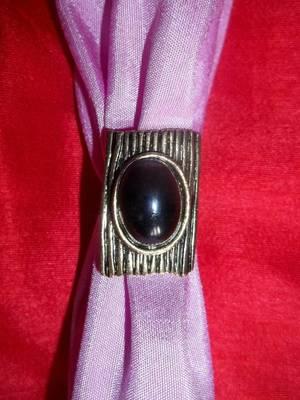 dull gold black stone ring