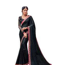 Buy Black embroidered brasso saree with blouse brasso-saree online