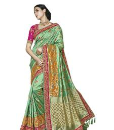 Buy Green embroidered silk saree with blouse bridal-saree online
