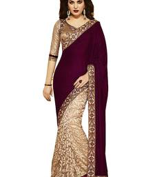 Buy Maroon embroidered brasso saree with blouse bollywood-saree online