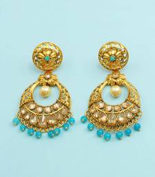 Buy Aqua Blue Polki Stones Dangle and Drop Earrings Jewellery For Women danglers-drop online