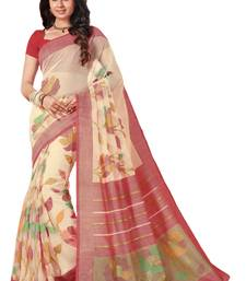 Buy Cream printed brasso saree with blouse brasso-saree online