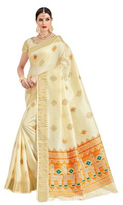 Off white printed patola saree with blouse