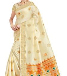 Buy Off white printed patola saree with blouse patola-sari online