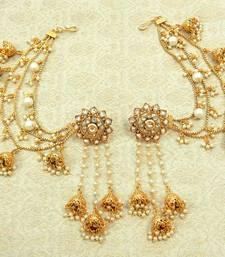 Buy Devsena Bahubali White Pearl Zircon Kundan jhumka earring with Ear Chain wedding festival jewellery jhumka online