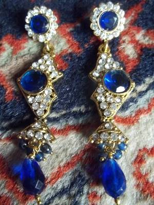 long blue stone and diamond danglers