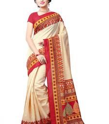Buy Light cream printed bhagalpuri saree with blouse bhagalpuri-silk-saree online