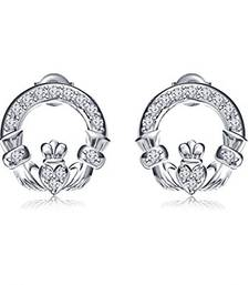 Buy Platinum Plated 925 Sterling Silver Round Cut White CZ Claddagh Style Stud Earrings stud online