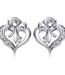 Buy Platinum Plated 925 Sterling Silver Round Cut White CZ Flying Angle in Heart Stud Earrings stud online