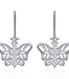 Buy  White Round CZ Butterfly Style New Drop Earrings Only For Girls & Womens stud online