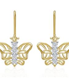 Buy Gold Plated Cheerful Butterfly Drop Earrings Crystal For Womens & Girls stud online