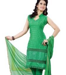 Buy Green embroidered cotton unstitch churidaar salwaar kameez dress-material online