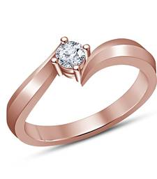 Buy Round Cut Simulated Diamond 14k Rose Gold Plated Bypass Solitaire Engagement Ring Ring online