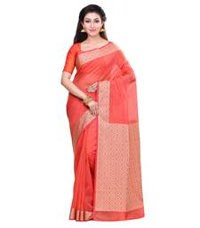 Buy Orange woven blended cotton saree with blouse hand-woven-saree online