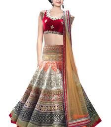Buy Multicolor embroidered silk unstitched lehenga with dupatta lehenga-choli online